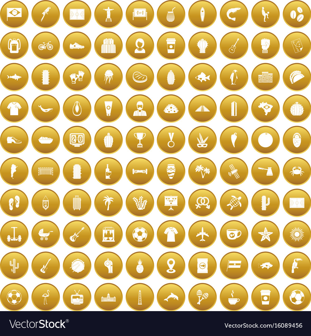 100 south america icons set gold