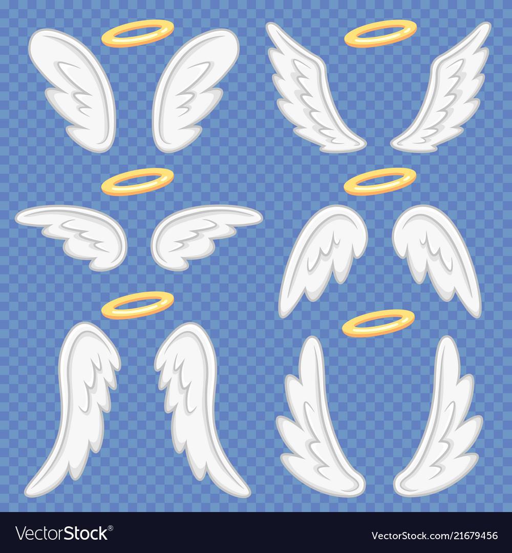 Cartoon angel wings holy angelic nimbus and