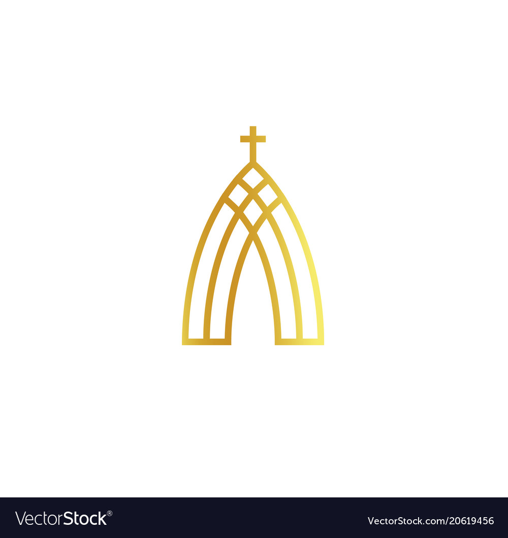 Church abstract minimalistic golden logo on white
