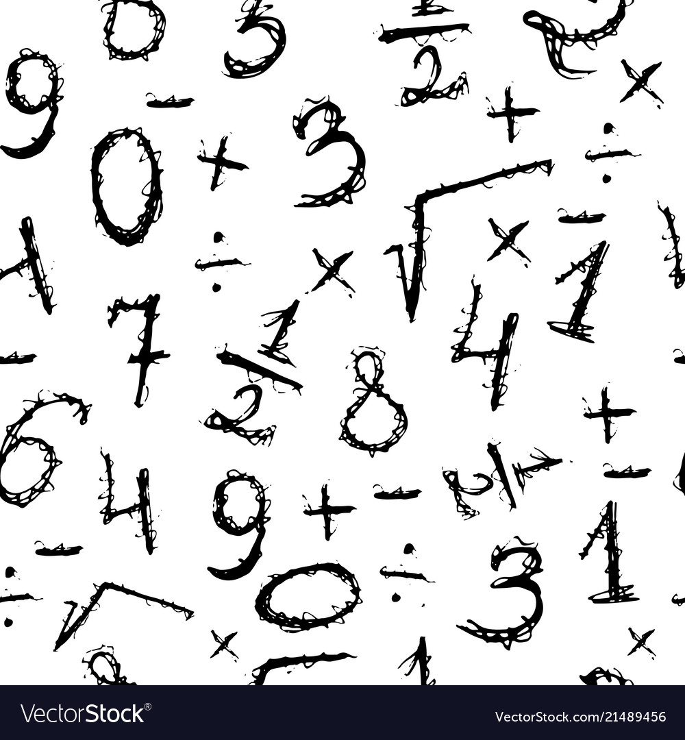 Doodle seamless pattern with numbers hand drawn