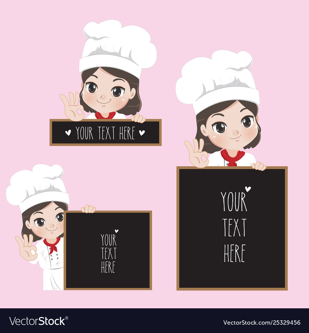 Female chef holds a signage