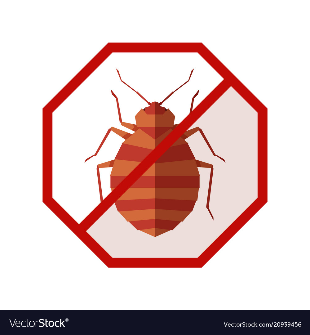 Flat geometric sign with bedbug