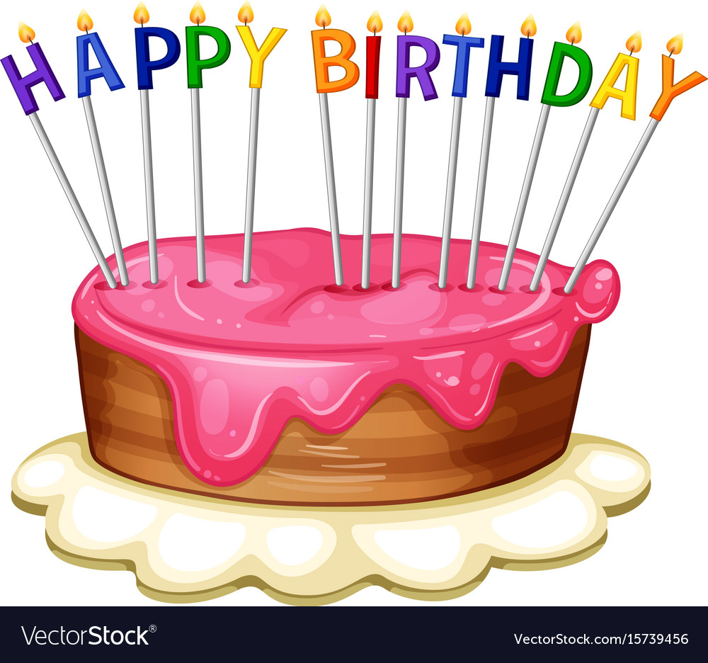 happy birthday card template with pink cake vector image
