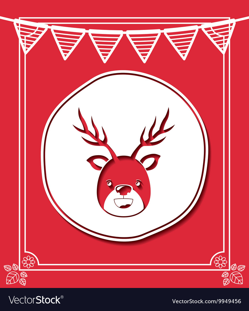 Merry christmas frame with reindeer isolated icon