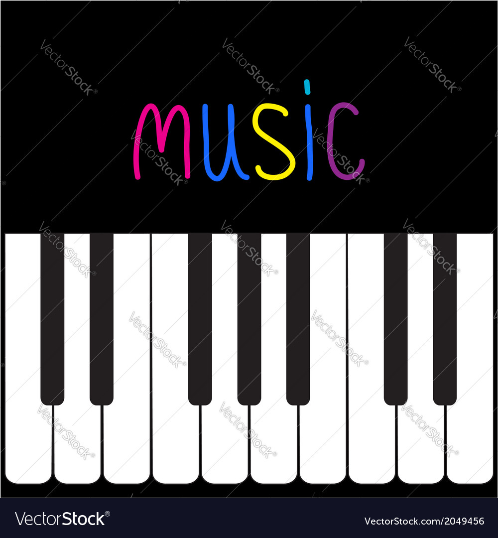 piano keys and colorful word music card royalty free vector