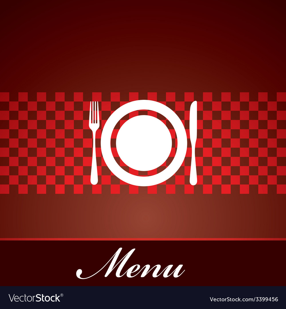 Restaurant menu design with plate fork and knife