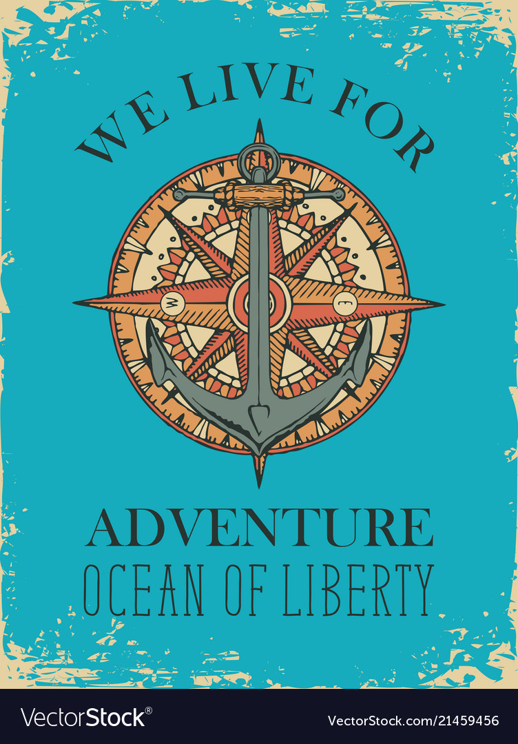 Retro travel banner with ship anchor and wind rose