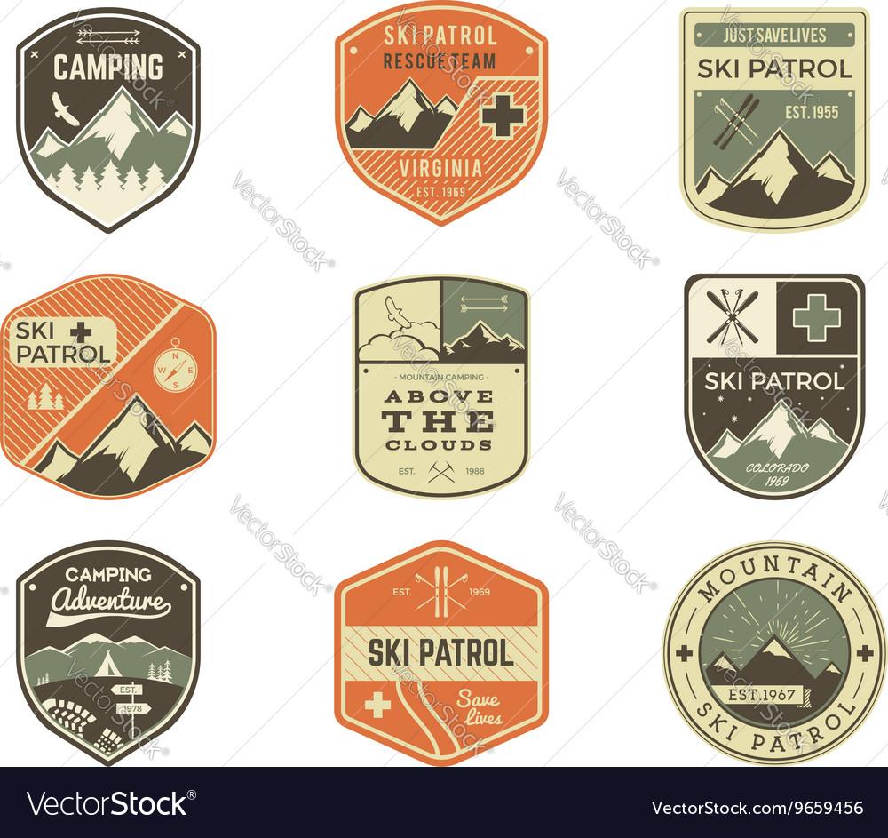 Set of Retro style Ski Club Patrol Labels vector image