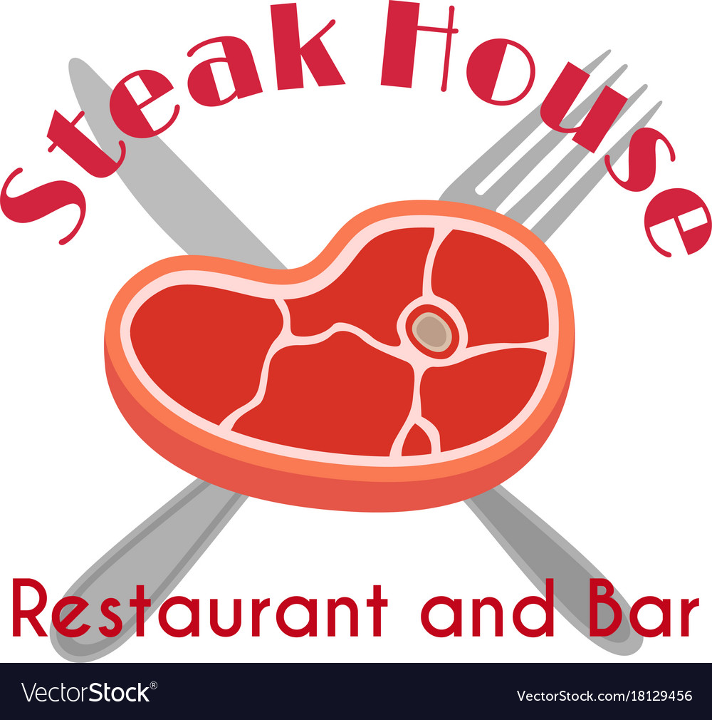 Steak house logo label fork meat flat