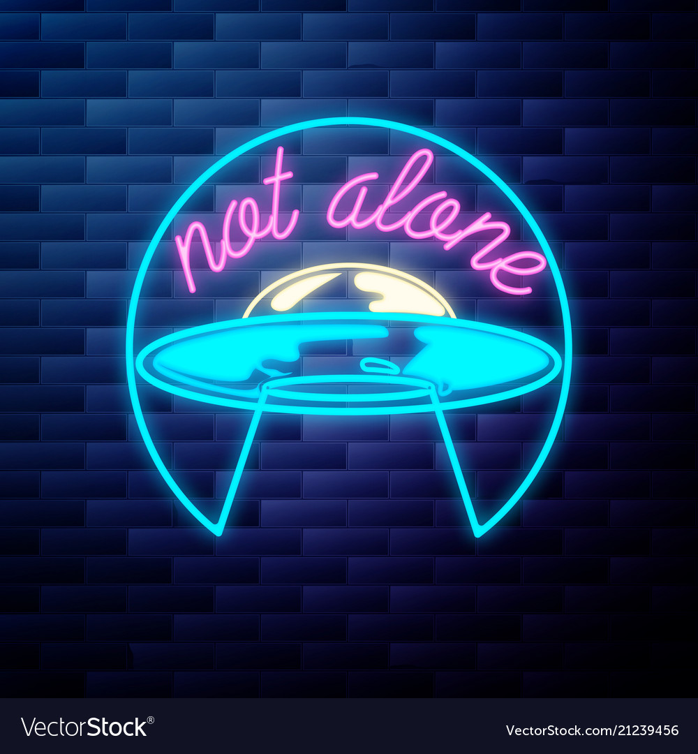 Vintage space ufo emblem glowing neon sign