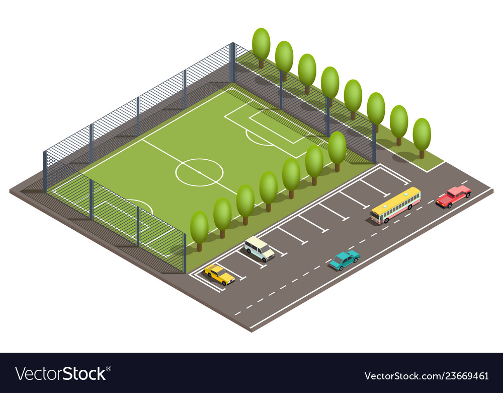 3d isometric football field car parking