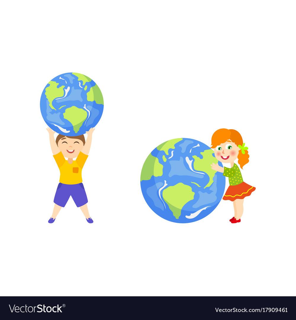 Boy holding globe over head girl hugging it vector image