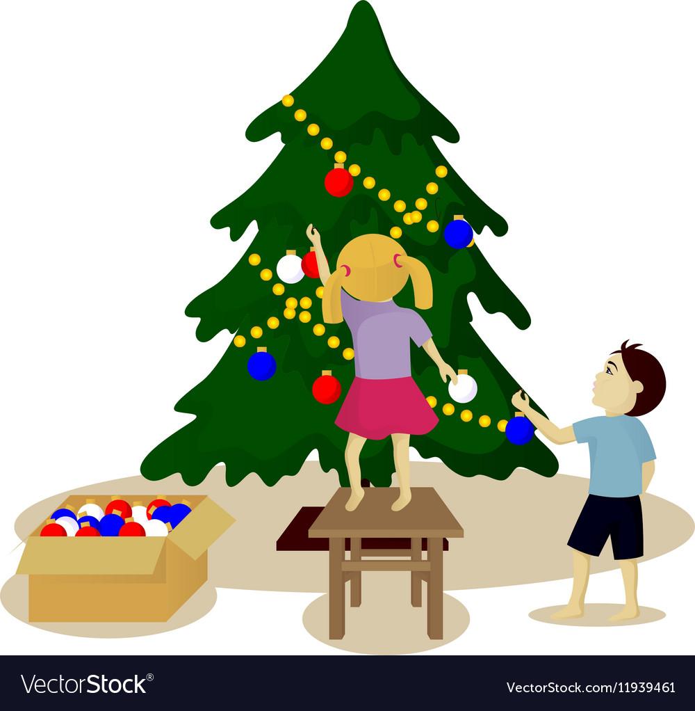 Children Decorate Christmas Tree Royalty Free Vector Image Christmas music christmas 2017 christmas tree ornaments christmas decorations holiday decor holiday ideas kids cartoon characters cartoon kids. vectorstock