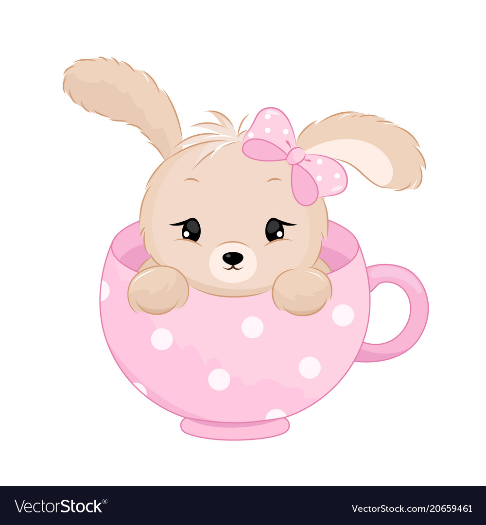Cute baby girl rabbit inside the cup pastel