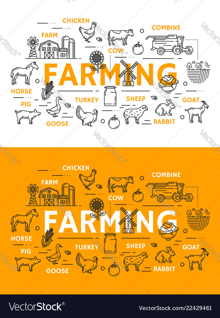 Farming line art posters for farm animals and food