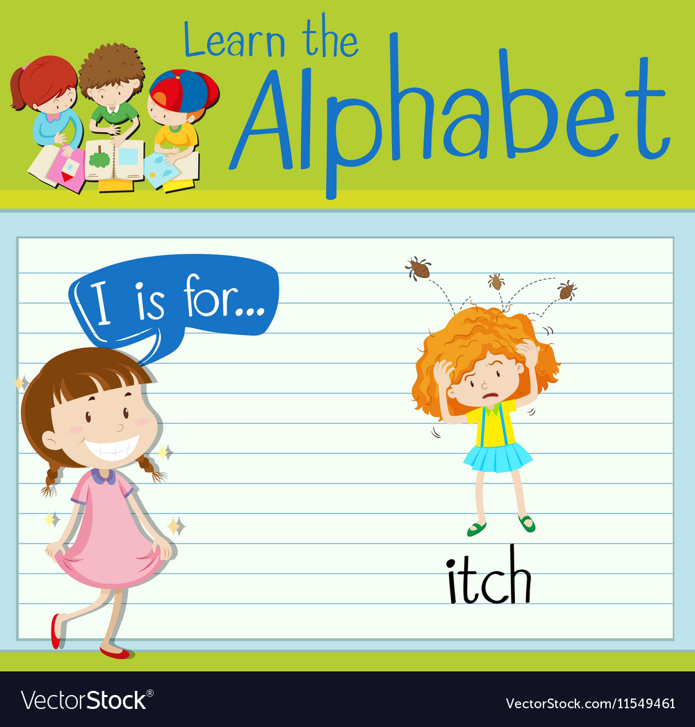 Flashcard alphabet I is for itch
