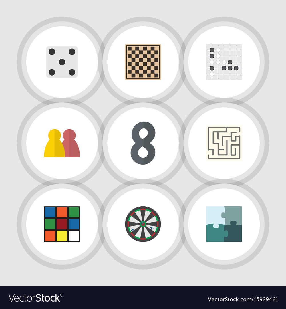 Flat icon games set of labyrinth gomoku chess vector image