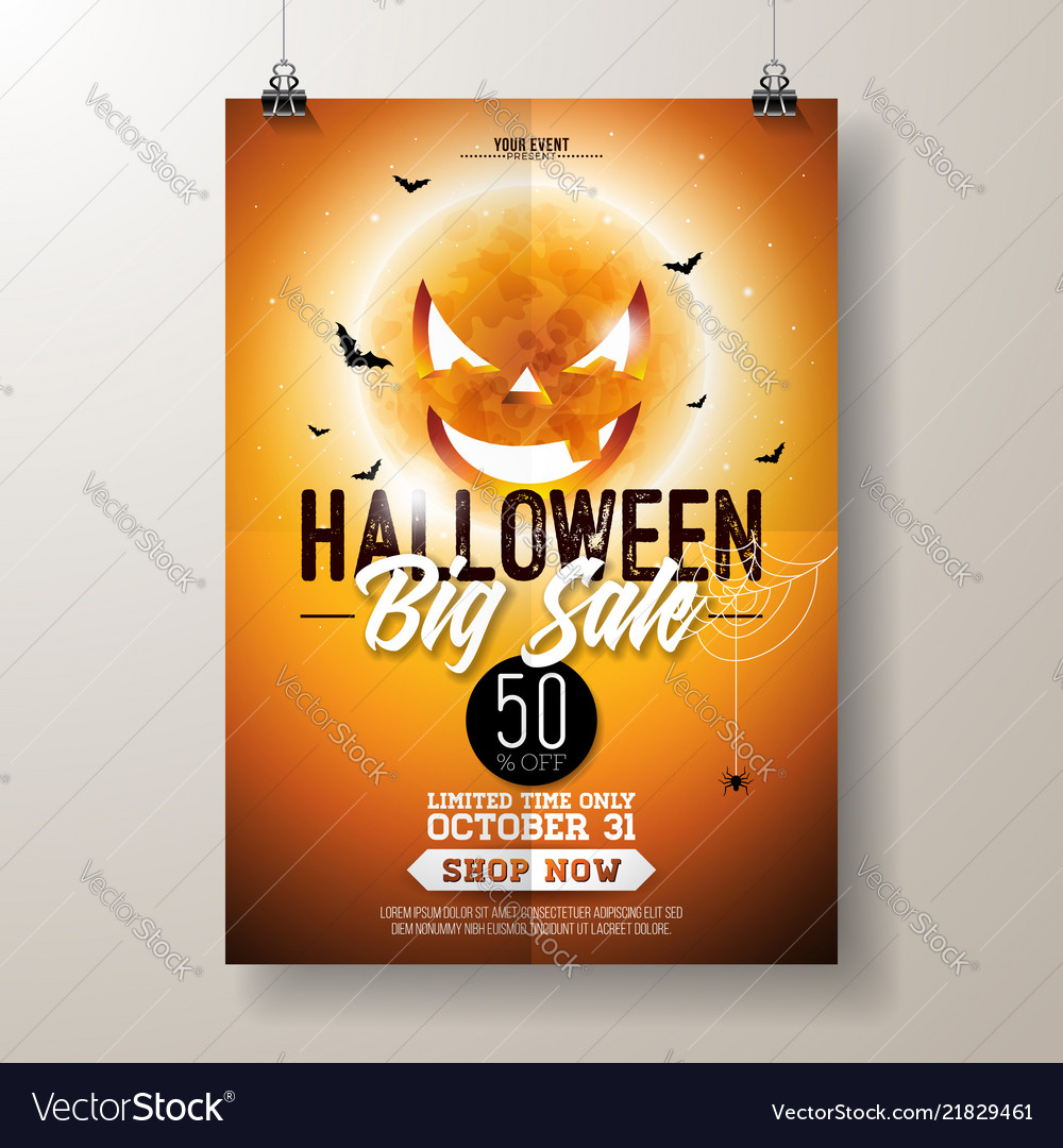 Halloween sale flyer with