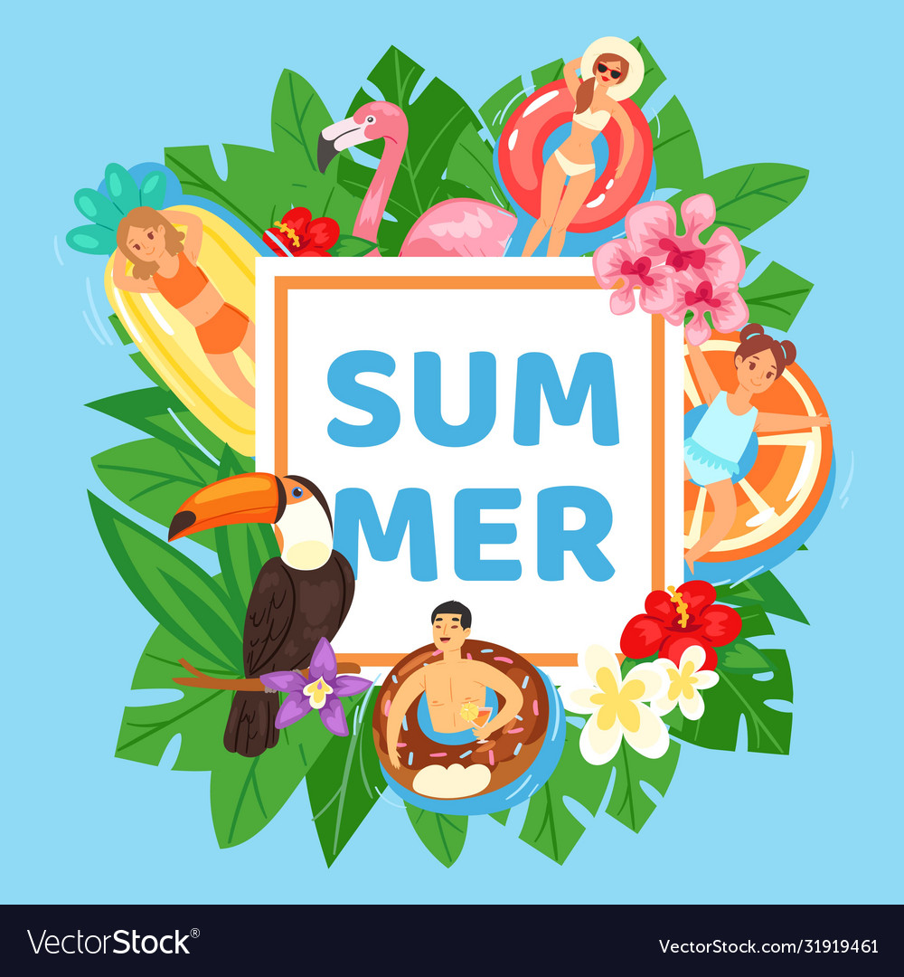 Inscription summer on gift card background exotic