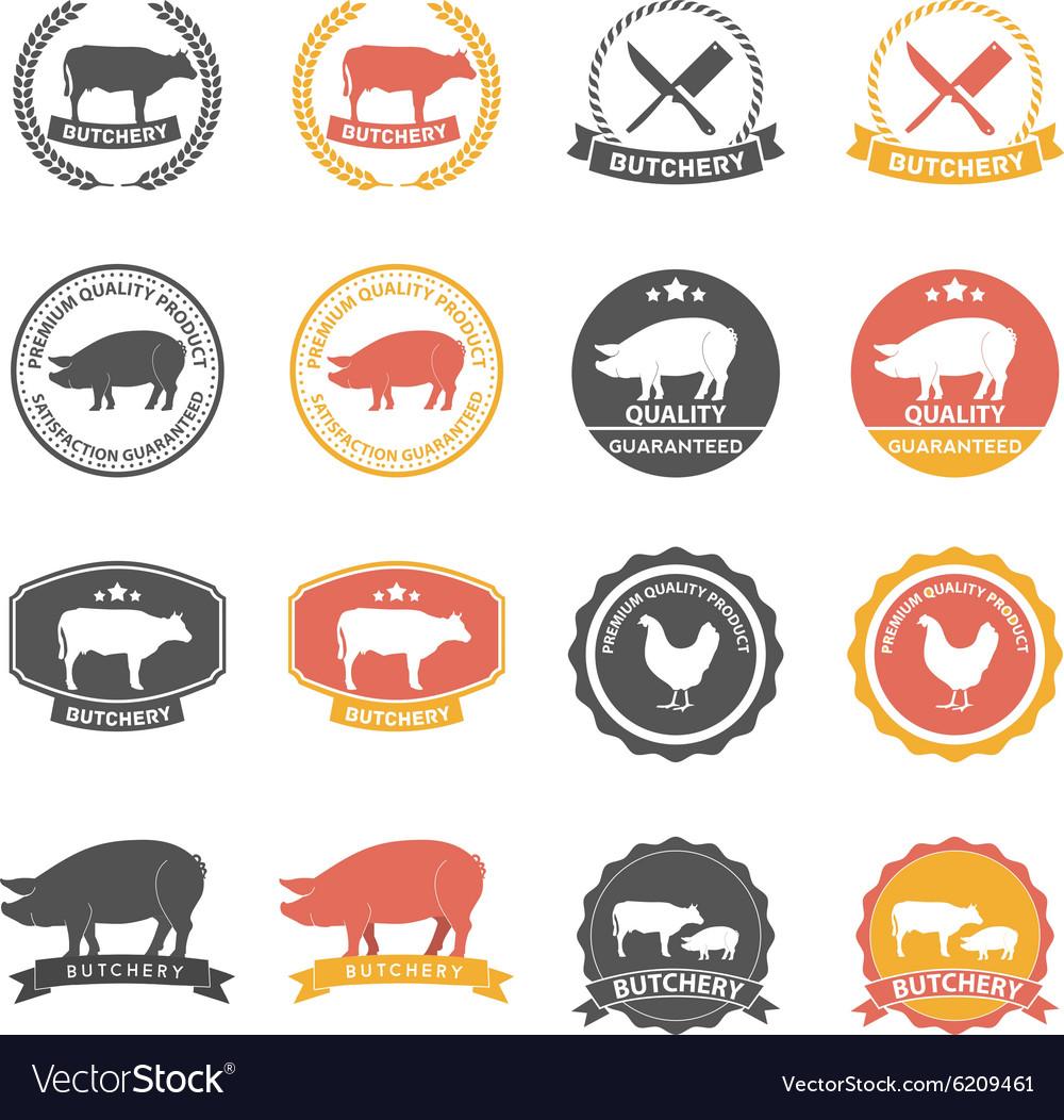 Set of butcher shop labels and design elements