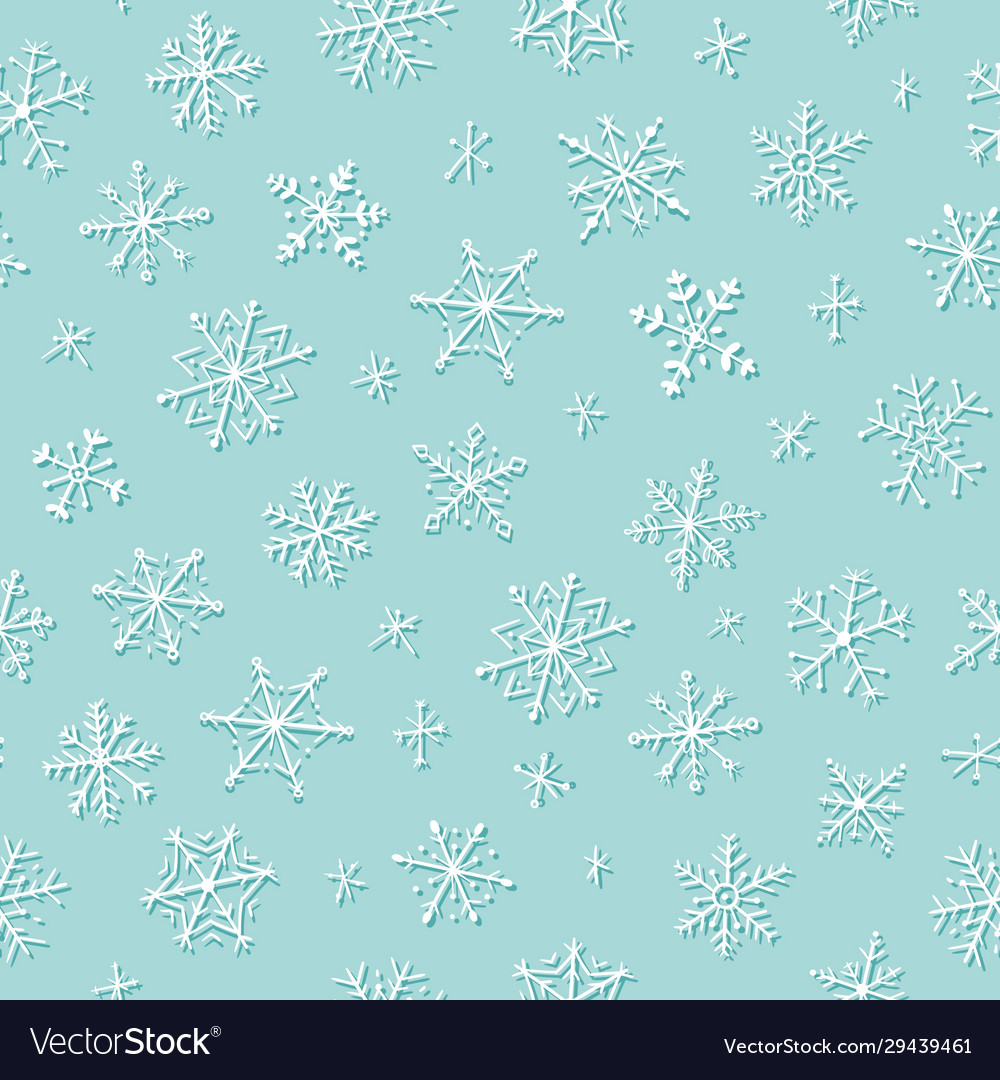 Snowflakes winter and christmas seamless pattern