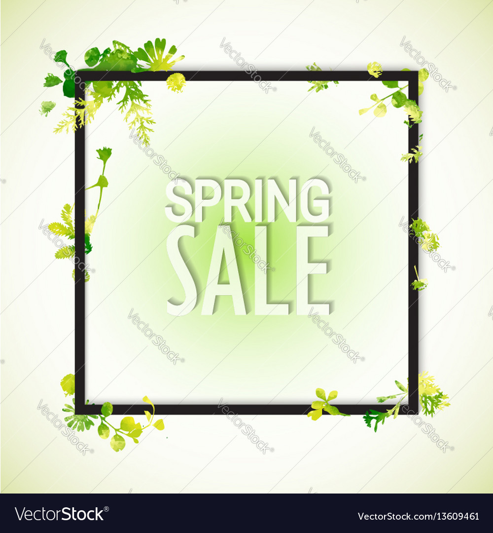 Spring sale watercolor banner