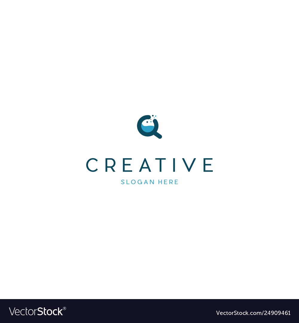 Zoom lab creative science logo design vector image