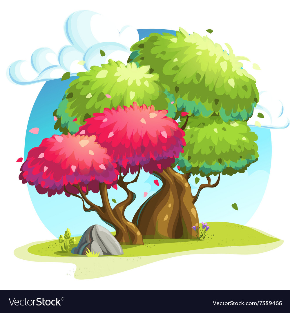 Colorful trees under the clouds Royalty Free Vector Image