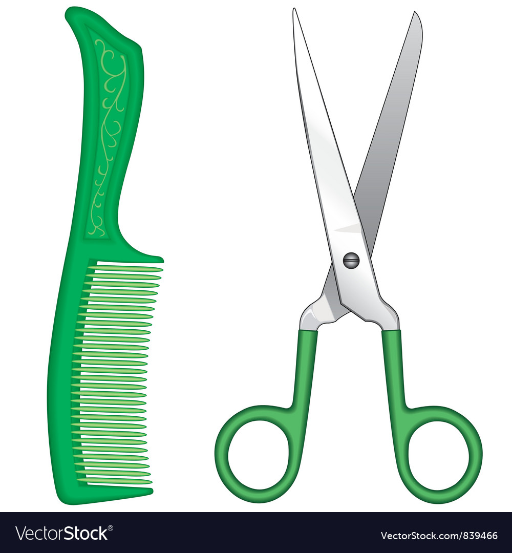 Comb and scissors vector image