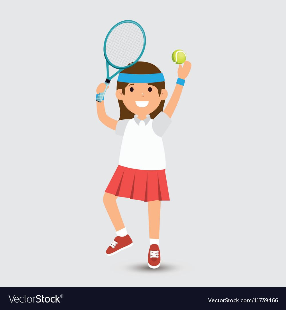 Cute girl plays tennis design vector image