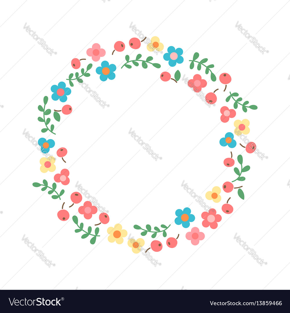 Decorative floral wreath frame from flowers