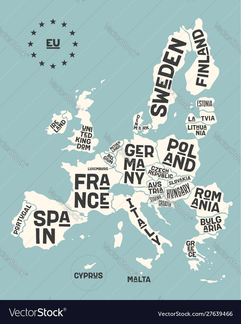 European union europe poster map european