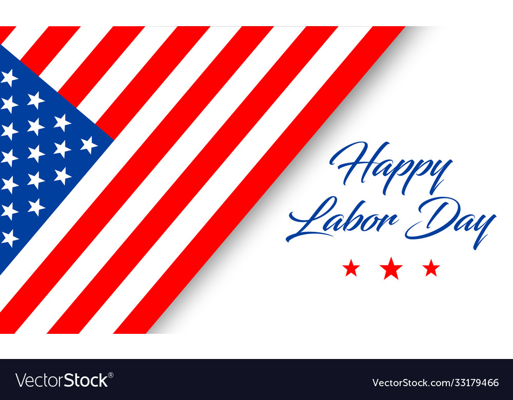 Happy labor day banner with text and flag isolated