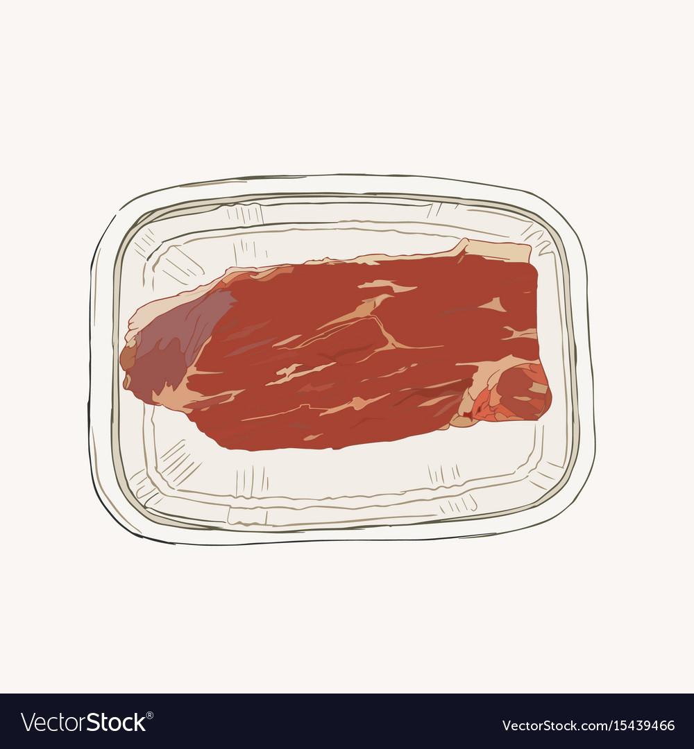 Meat in pack supermarket set sketch
