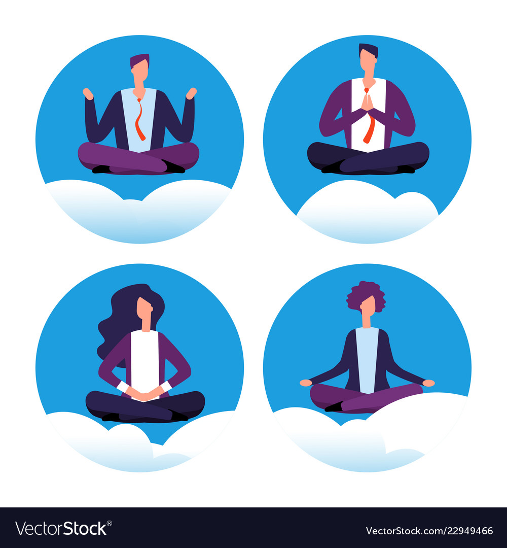 Meditation Yoga Businesspeople Icons Royalty Free Vector