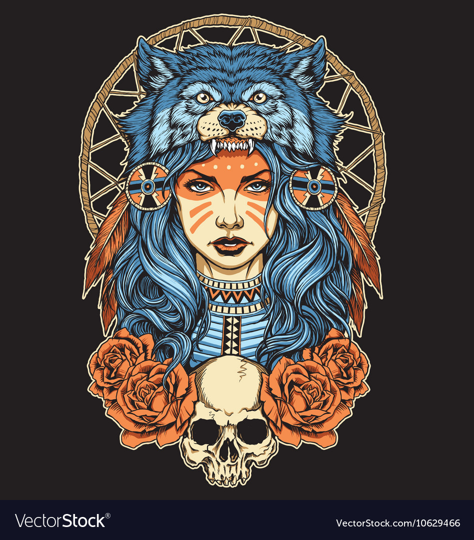 Native American girl with Wolf headdress full colo vector image