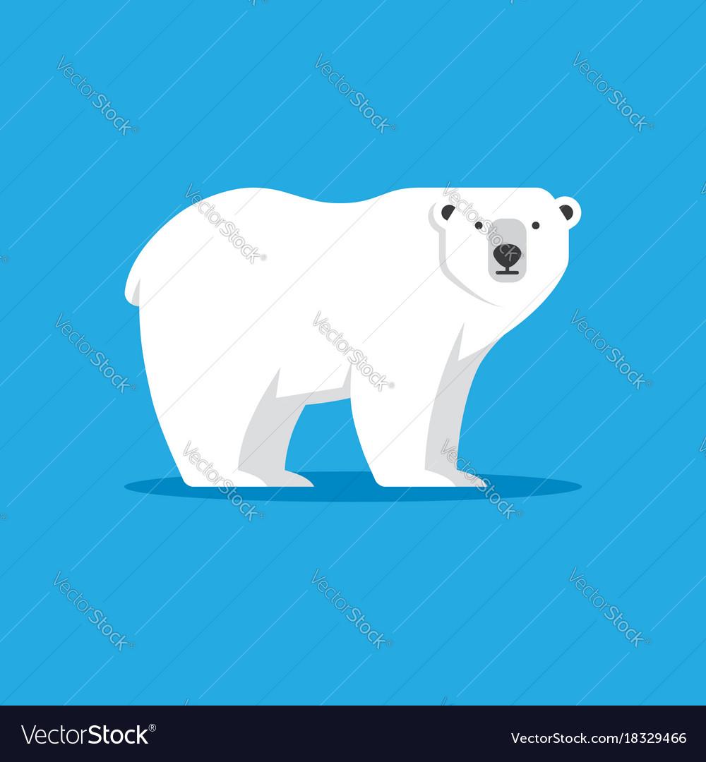 Polar bear icon in flat style