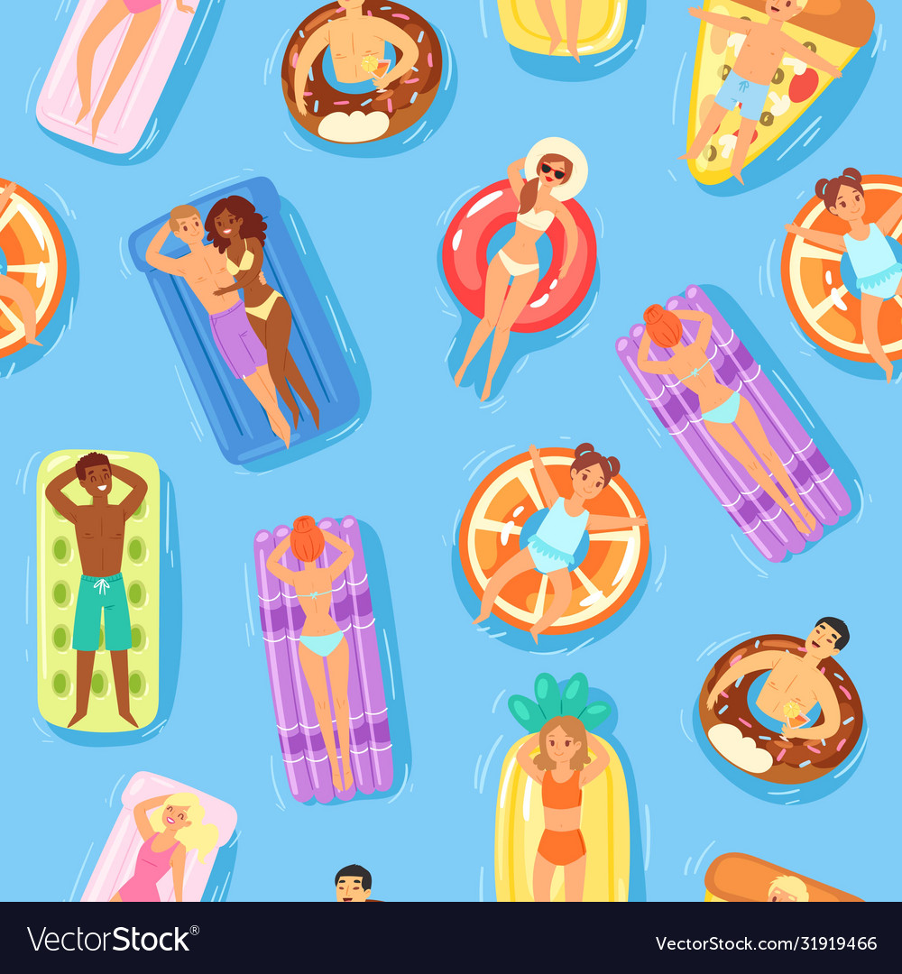 Seamless pattern happy people and swimming on