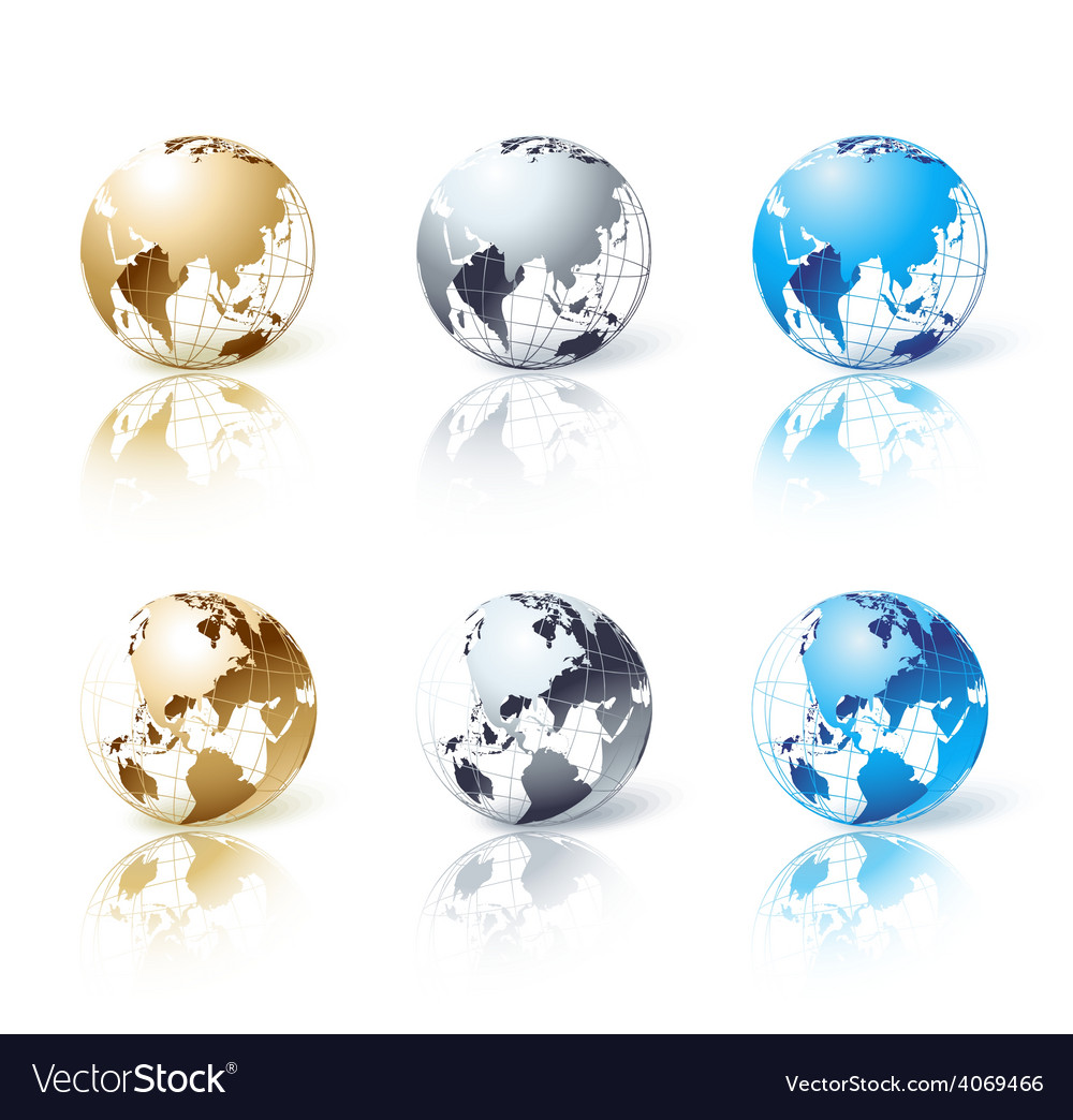 Set of silver gold and blue isolated globe