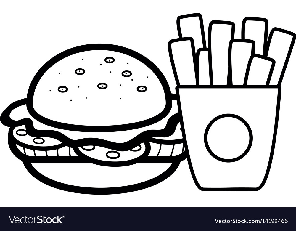 Silhouette hamburger and fries french food icon