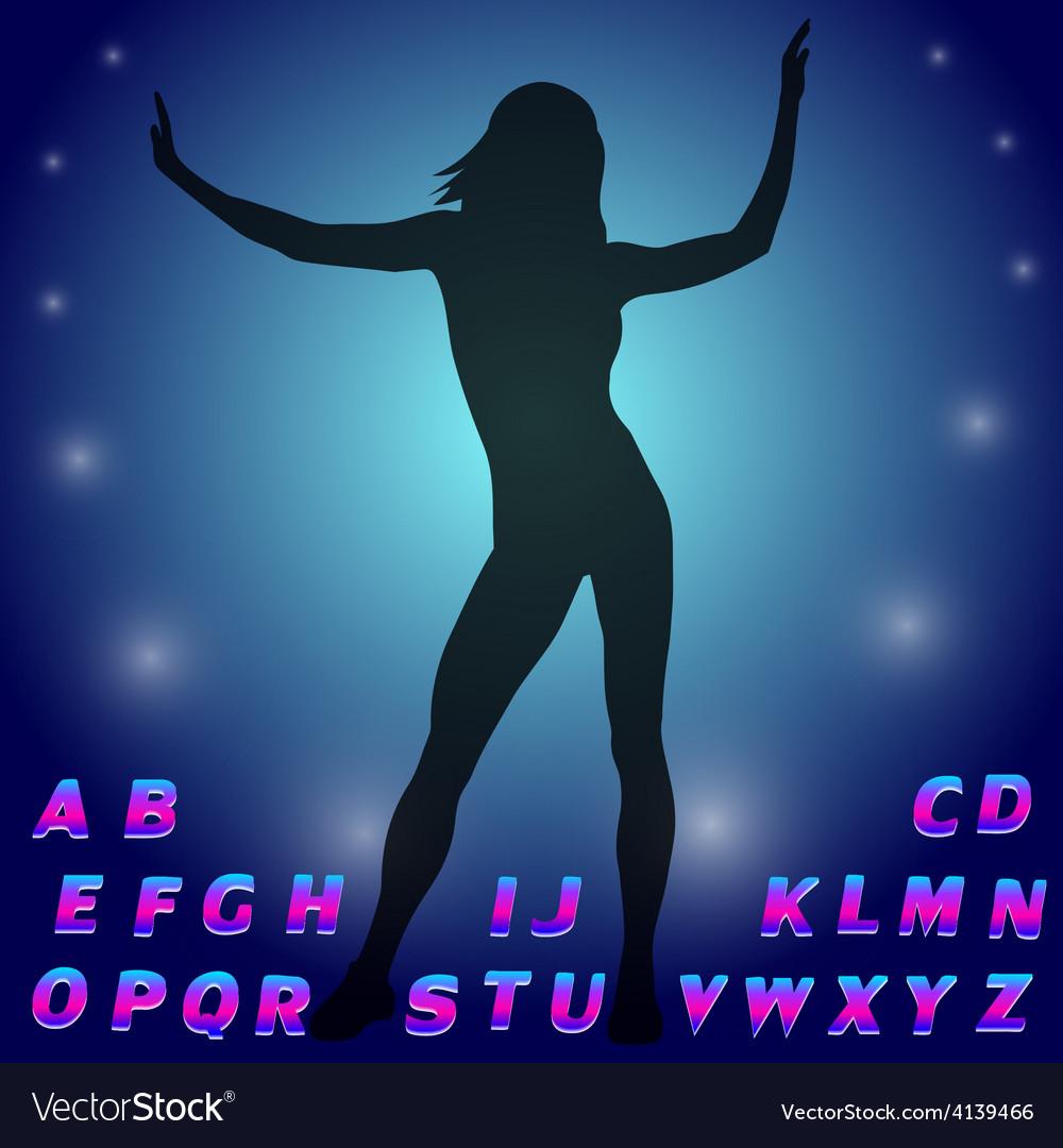 Silhouette of a dancing girl Neon glow alphabet vector image