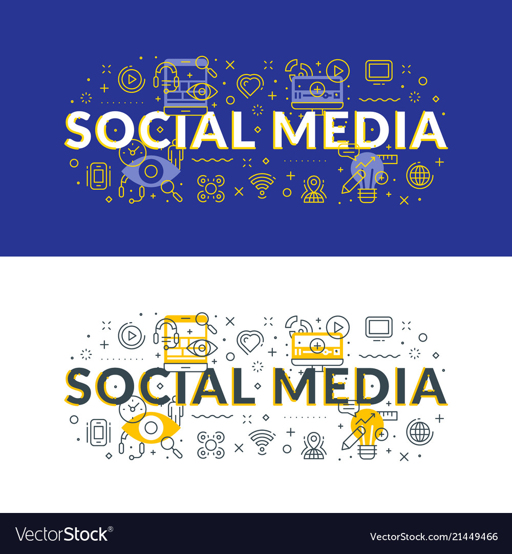 Social media flat line concept for web banner and