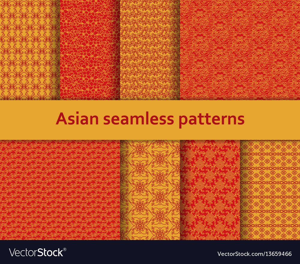 Traditional asian seamless patterns set