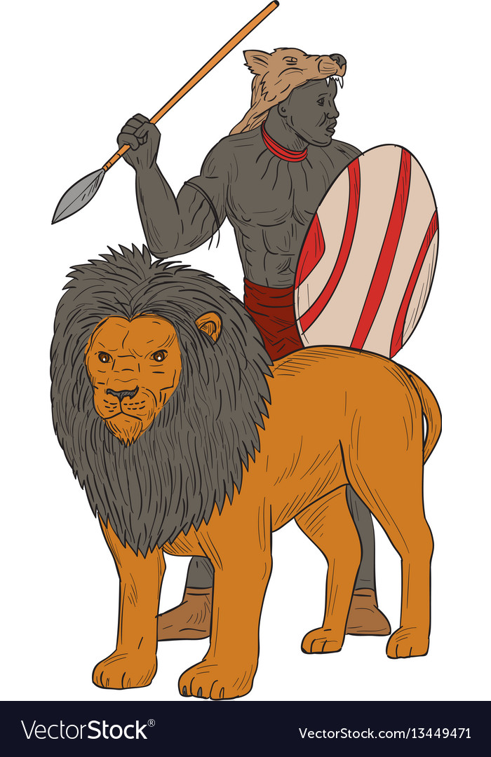African warrior spear hunting with lion drawing vector image