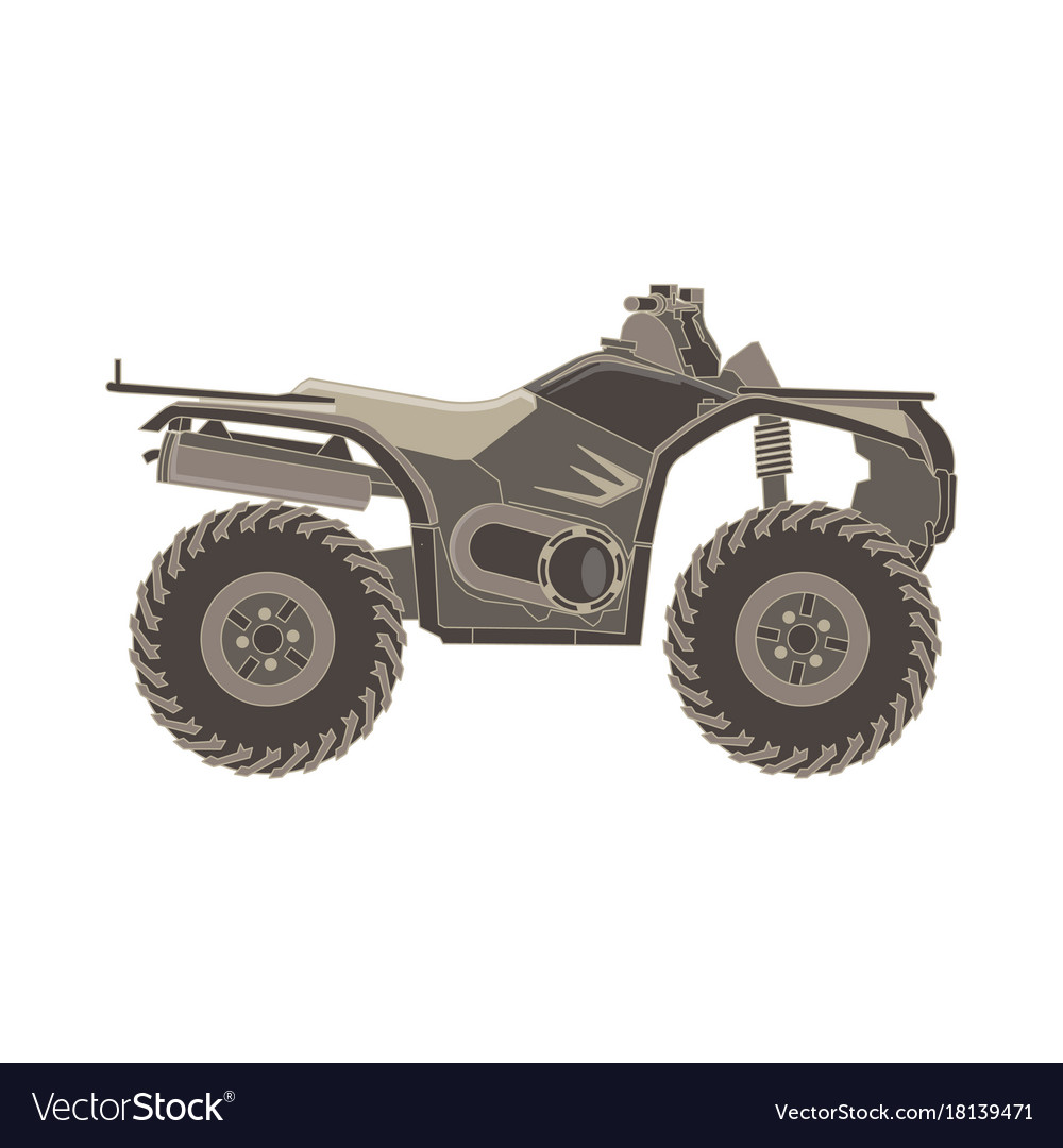 Atv Side View Isolated Icon Off Road Motorcycles Vector Image