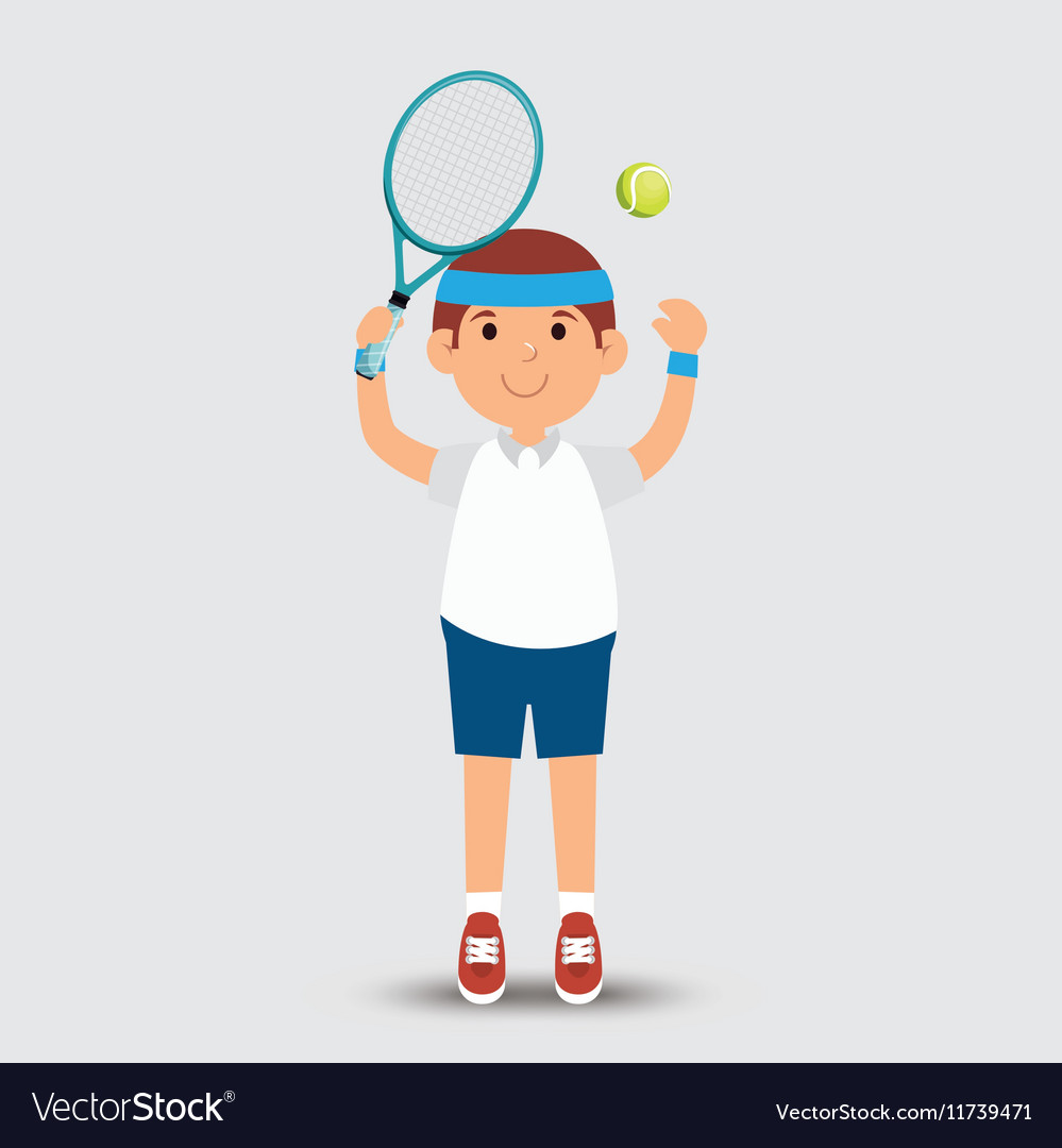 Cartoon Man Player Tennis Racket Ball Royalty Free Vector