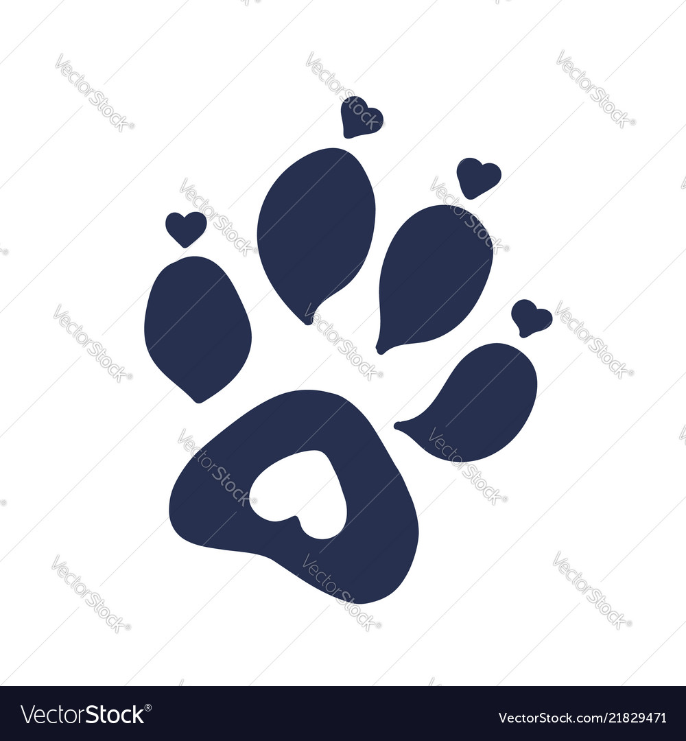 Cat Or Dog Paw Print Tattoo Design Royalty Free Vector Image