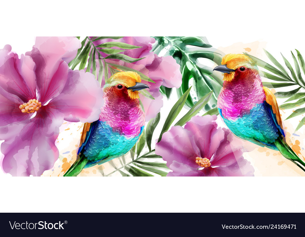 Colorful birds and flowers watercolor