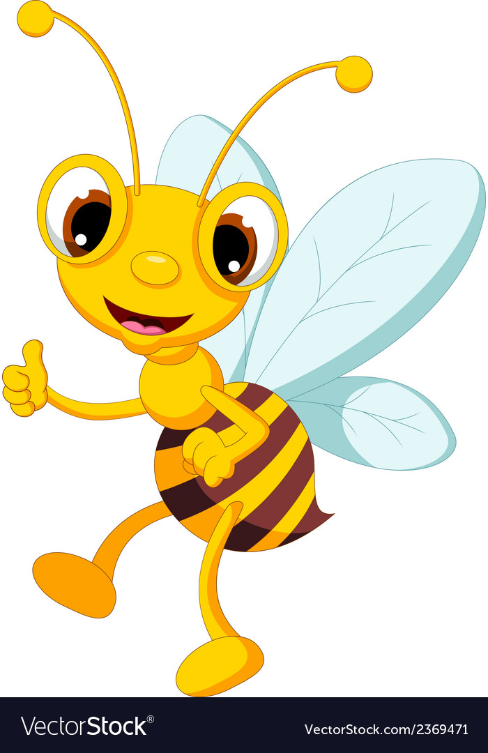 Funny Bee Cartoon Thumb Up Royalty Free Vector Image