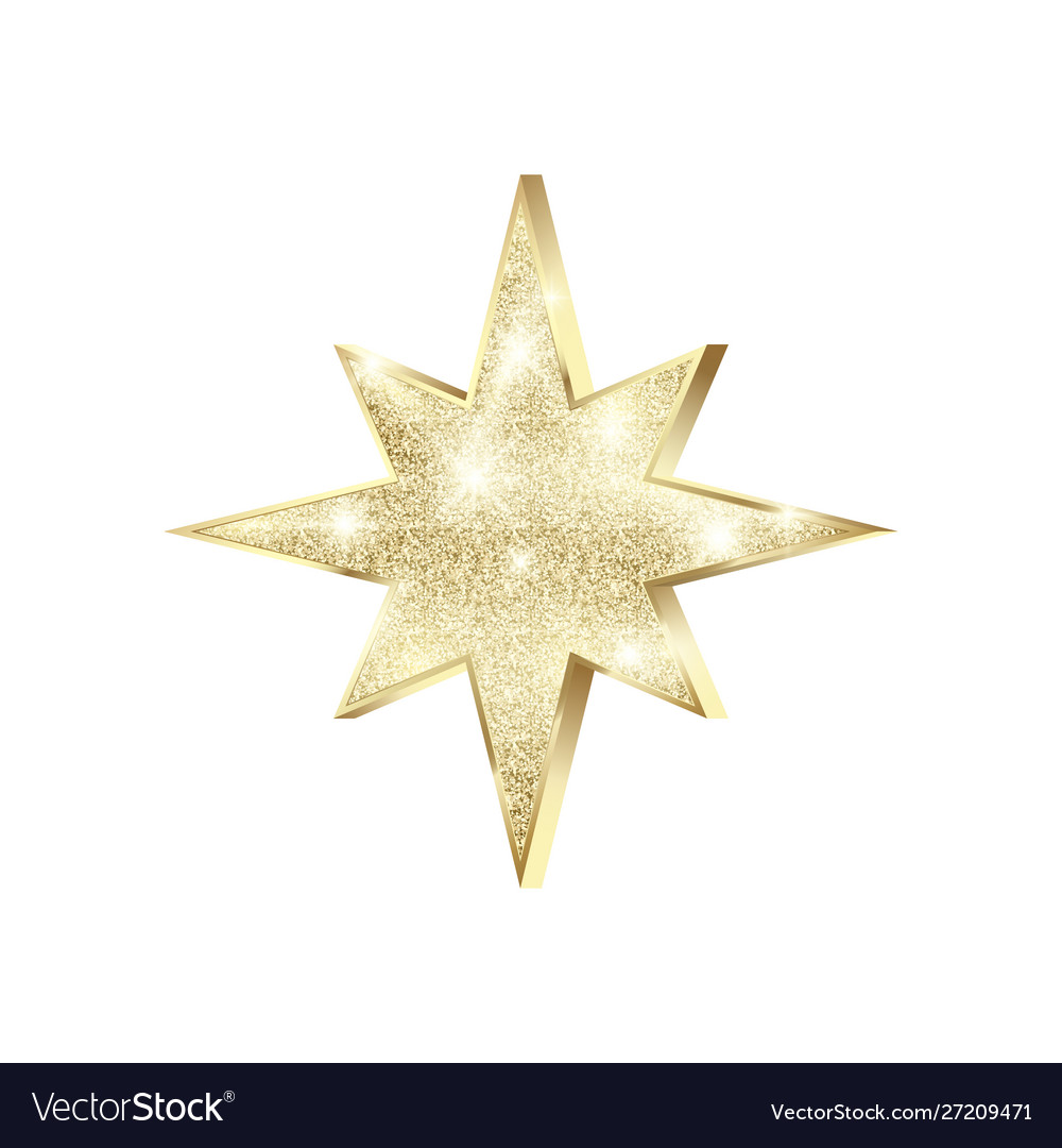 Golden star with glitters shiny christmas
